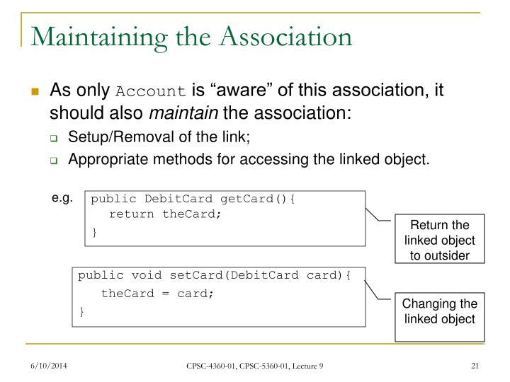 Maintaining the Association