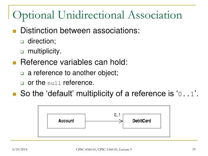 Optional Unidirectional Association