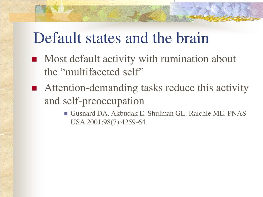 Default states and the brain