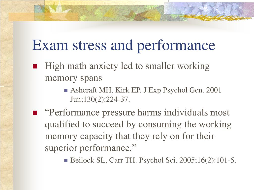 Exam stress and performance