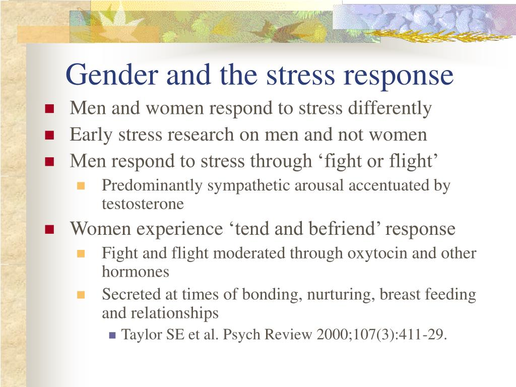 Gender and the stress response