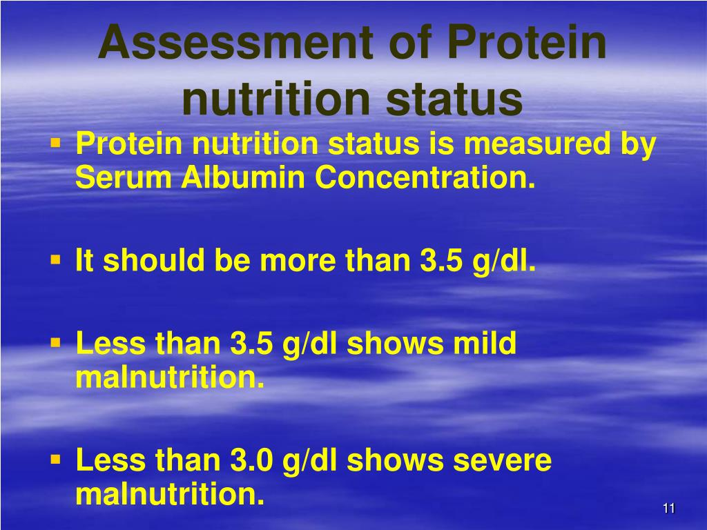 Assessment of Protein nutrition status