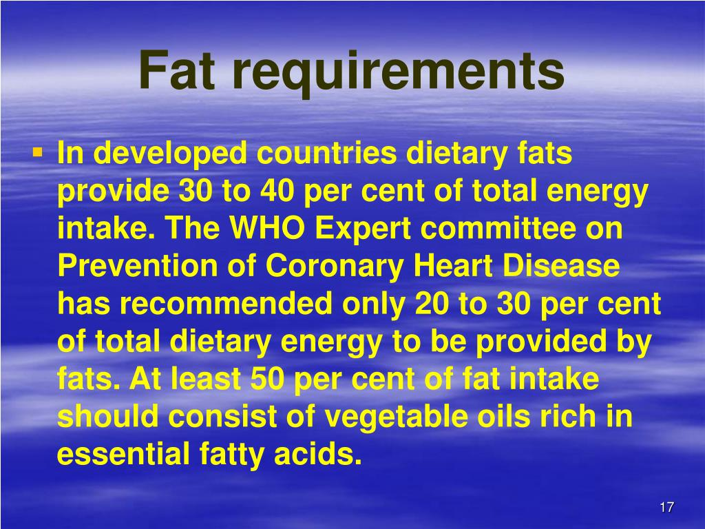 Fat requirements