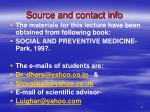source and contact info
