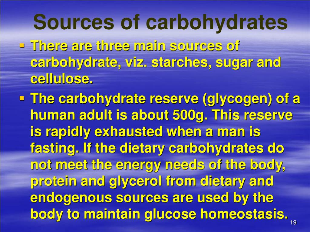 Sources of carbohydrates