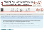 aligning plus 50 programming to local needs opportunities