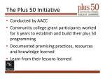 the plus 50 initiative