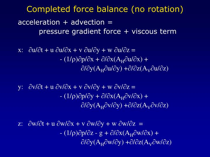 Completed force balance (no rotation)
