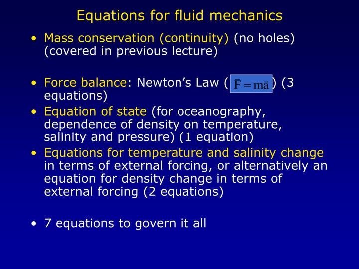Equations for fluid mechanics