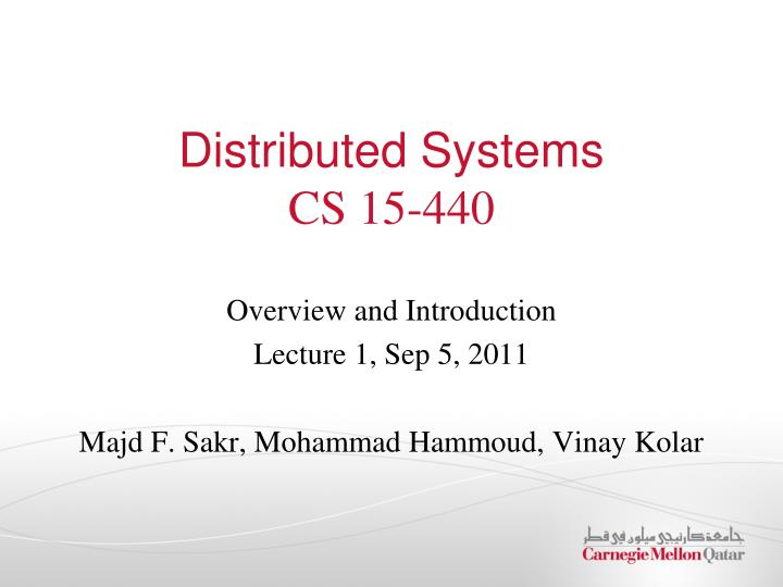 distributed systems cs 15 440 n.