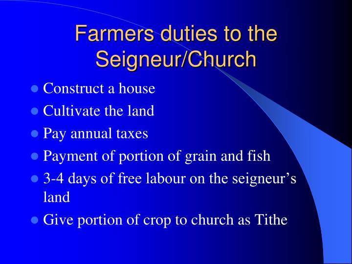 Farmers duties to the Seigneur/Church