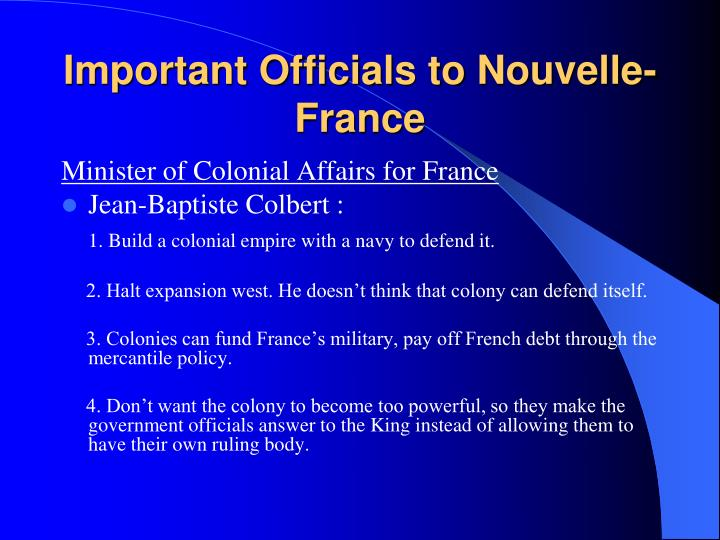 Important Officials to Nouvelle-France