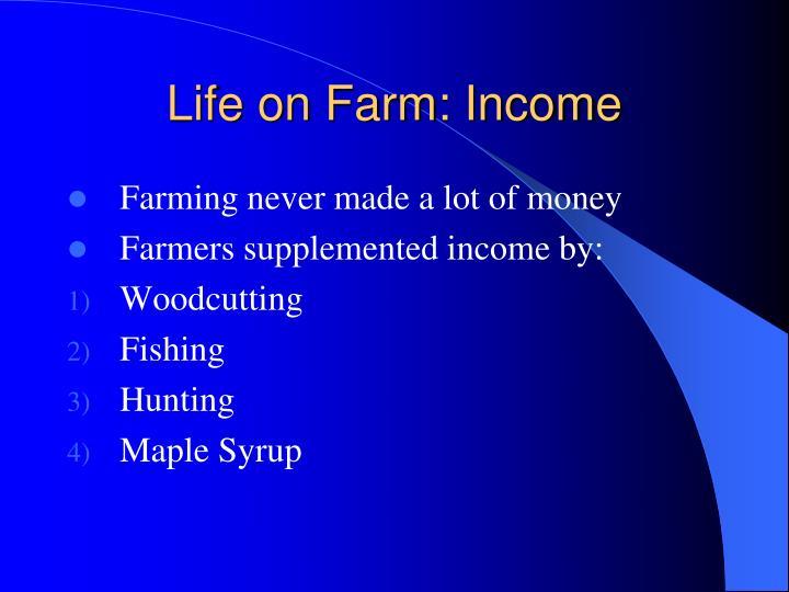 Life on Farm: Income
