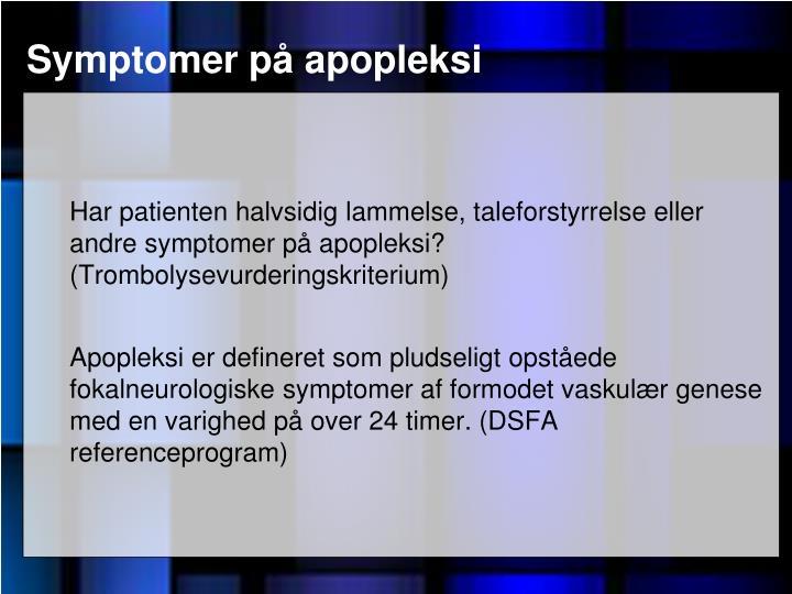 Symptomer p apopleksi