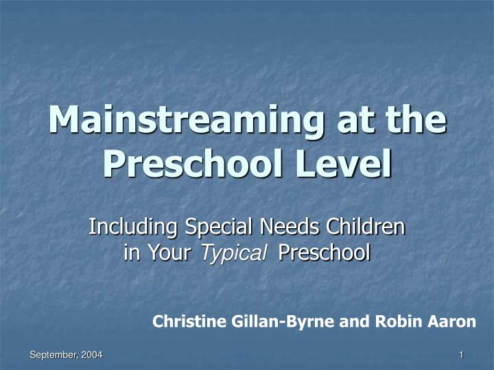 mainstreaming at the preschool level n.