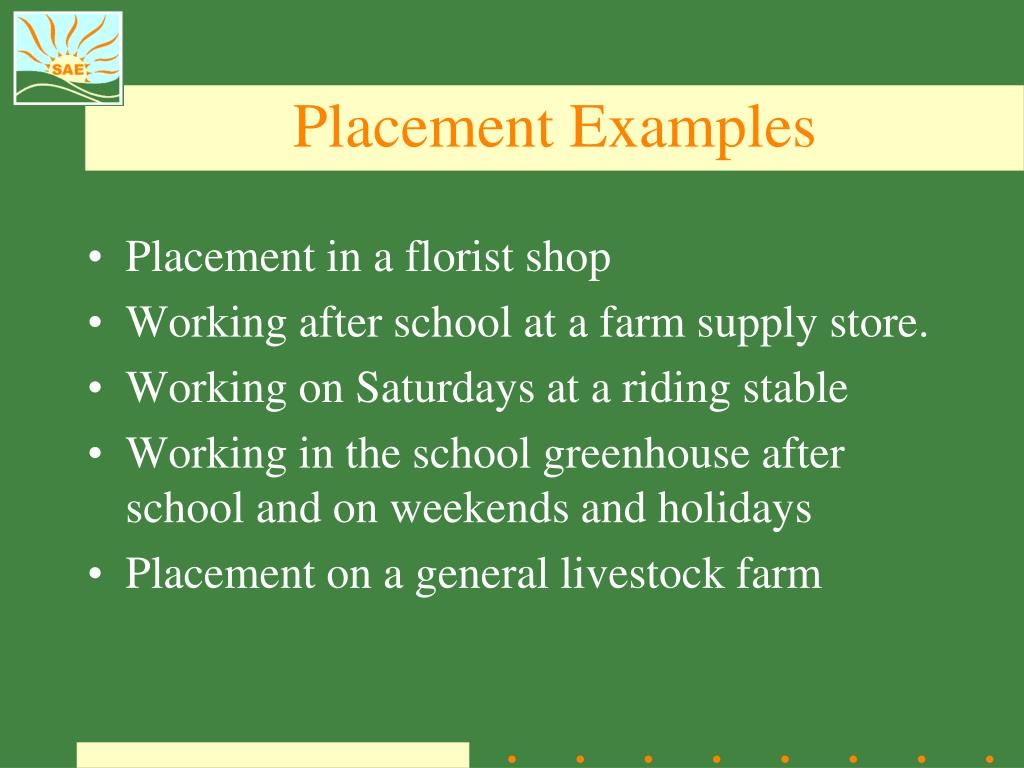 Placement Examples