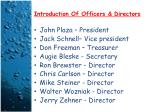 introduction of officers directors