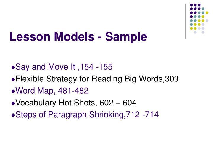 Lesson Models - Sample
