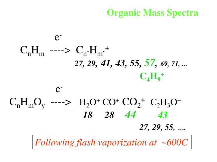 Organic Mass Spectra