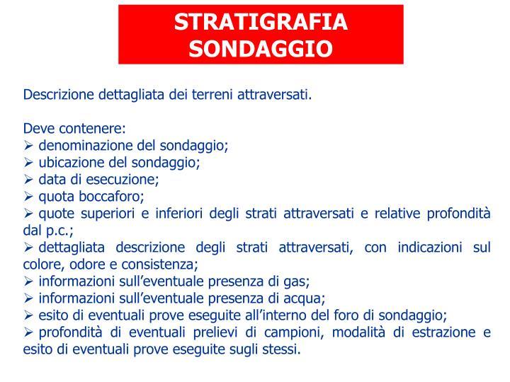 STRATIGRAFIA SONDAGGIO