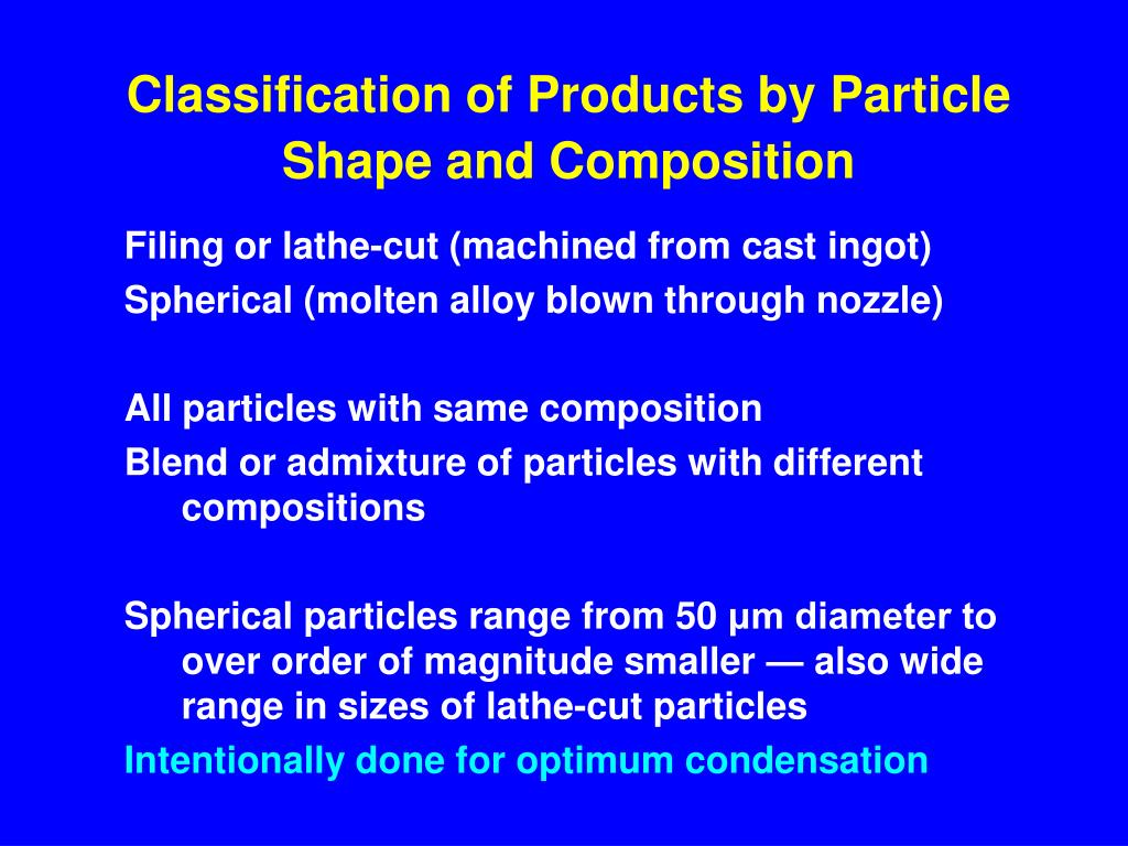 Classification of Products by Particle Shape and Composition