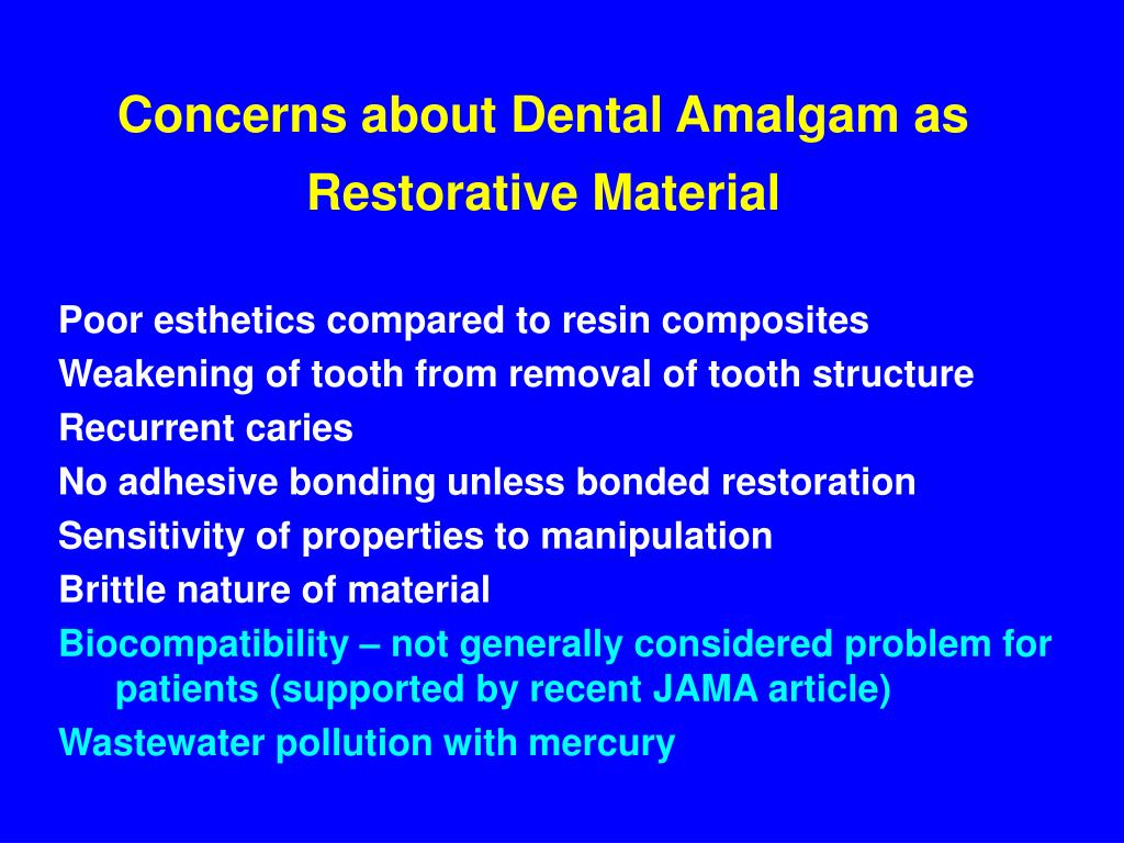 Concerns about Dental Amalgam as Restorative Material