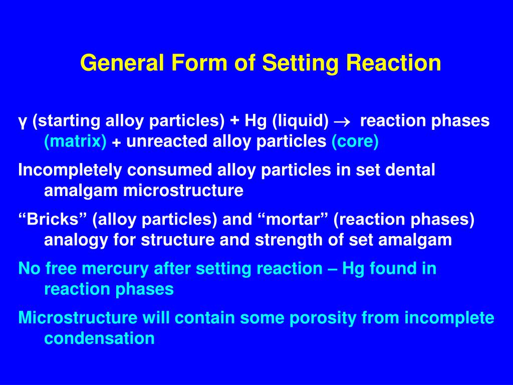 General Form of Setting Reaction