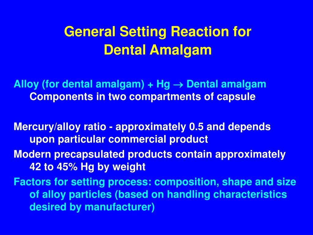 General Setting Reaction for Dental Amalgam