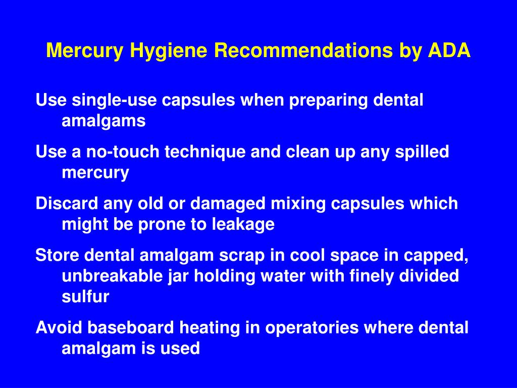 Mercury Hygiene Recommendations by ADA