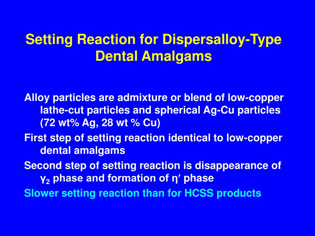 Setting Reaction for Dispersalloy-Type Dental Amalgams