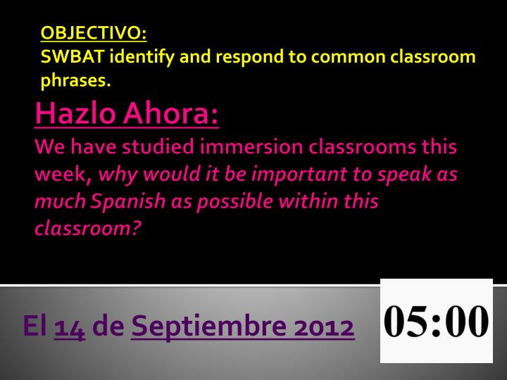 objectivo swbat identify and respond to common classroom phrases n.