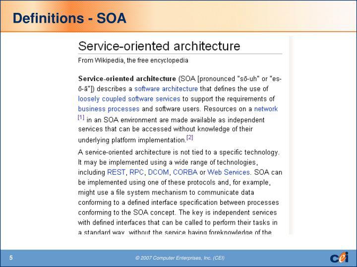 Definitions - SOA