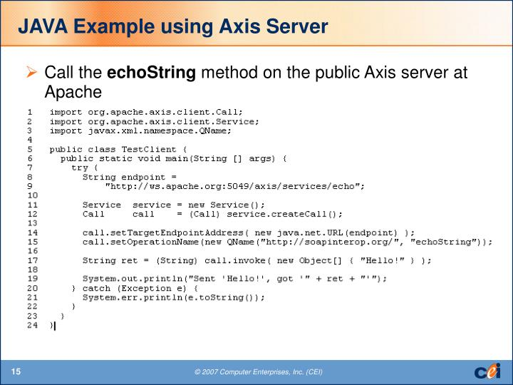 JAVA Example using Axis Server