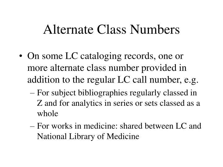 Alternate Class Numbers