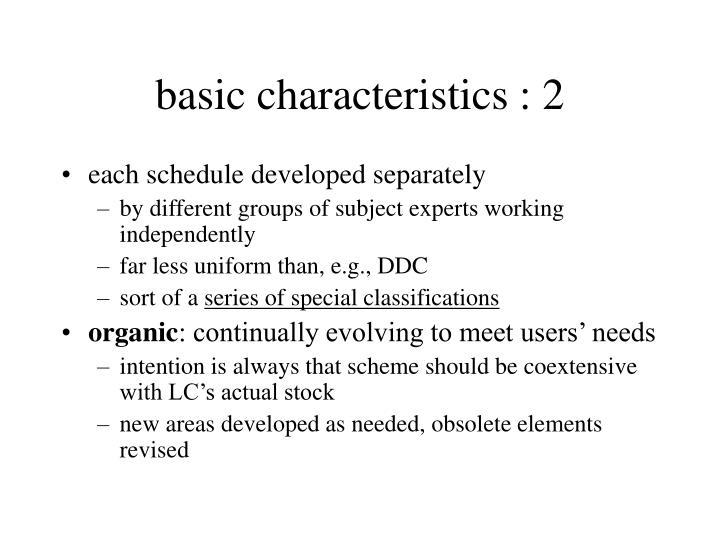 basic characteristics : 2