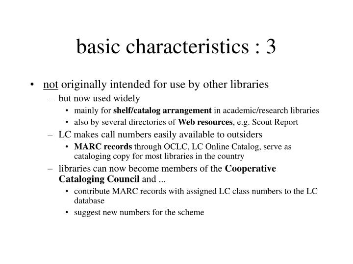 basic characteristics : 3