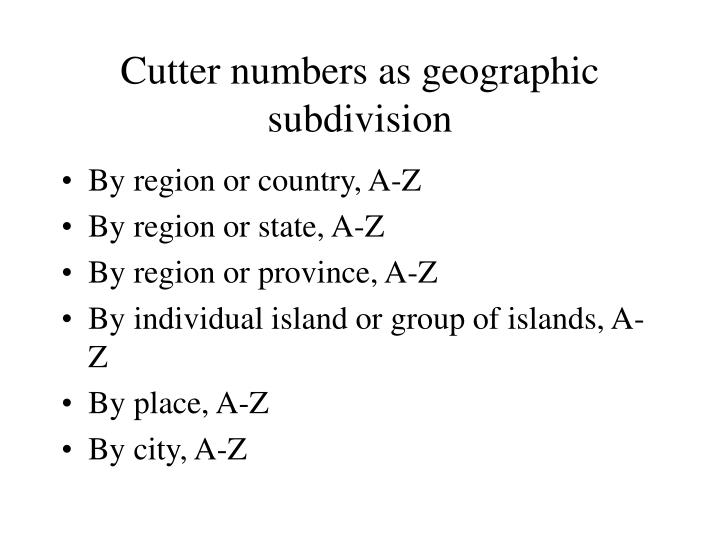 Cutter numbers as geographic subdivision