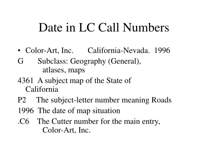 Date in LC Call Numbers