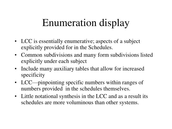 Enumeration display