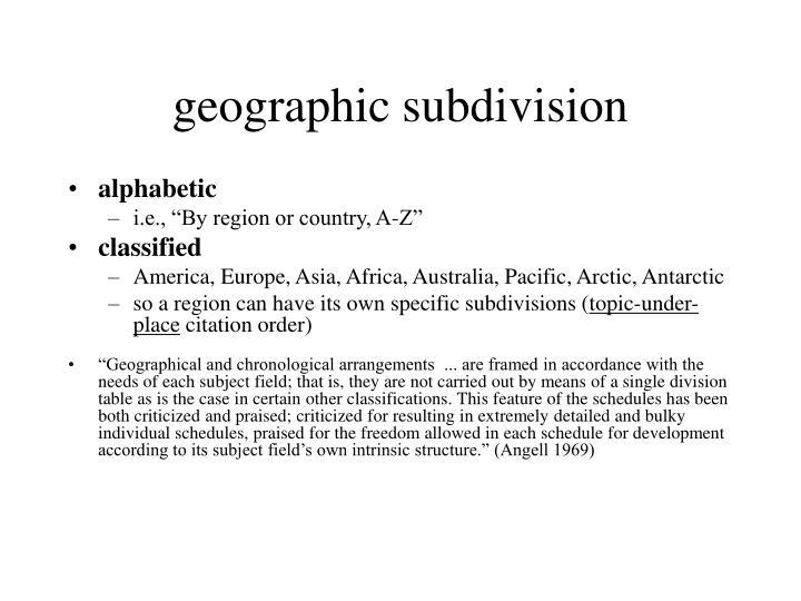 geographic subdivision