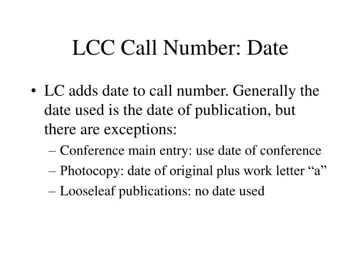 LCC Call Number: Date