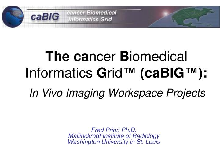the ca ncer b iomedical i nformatics g rid cabig in vivo imaging workspace projects n.