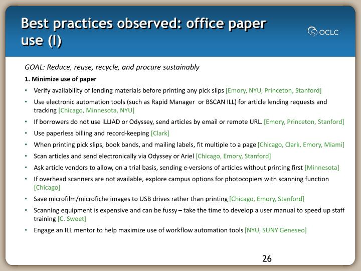 Best practices observed: office paper use (I)
