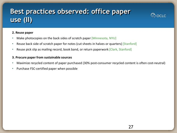 Best practices observed: office paper use (II)