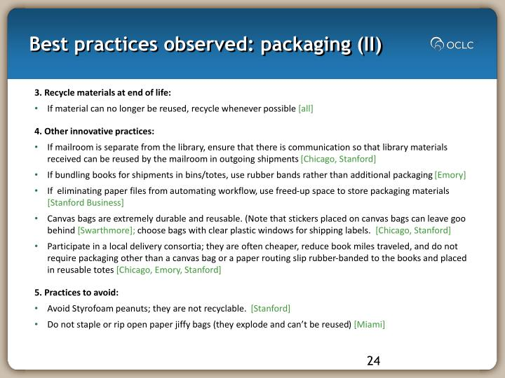 Best practices observed: packaging (II)