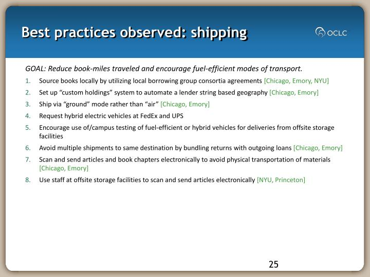 Best practices observed: shipping