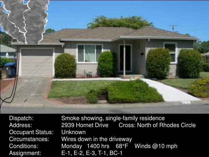 Dispatch:Smoke showing, single-family residence