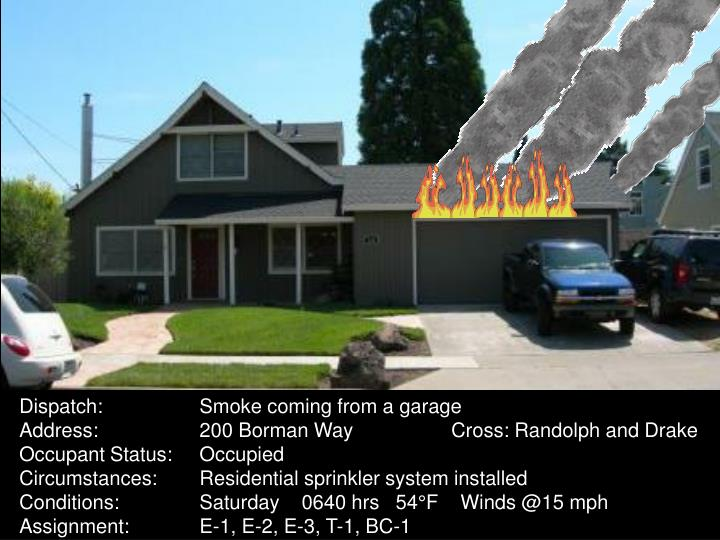 Dispatch:Smoke coming from a garage