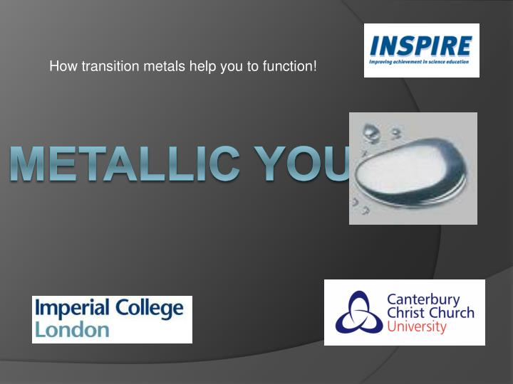 how transition metals help you to function n.