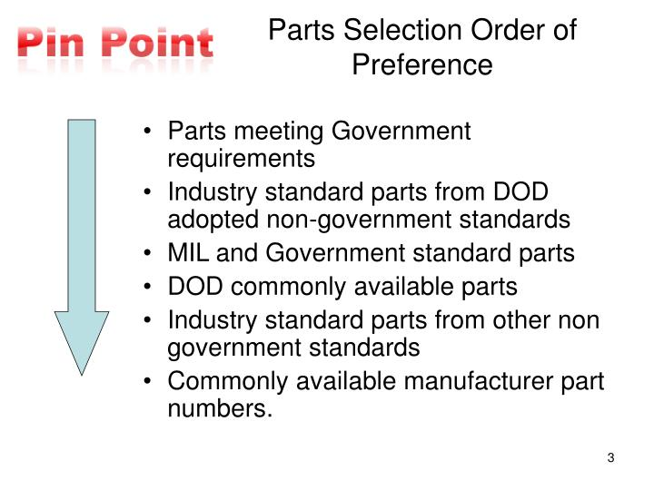 Parts selection order of preference
